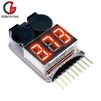 1-8S batería de bajo voltaje zumbador alarma voltímetro Digital voltaje medidor de litio voltios de batería probador Detector LED indicador para RC