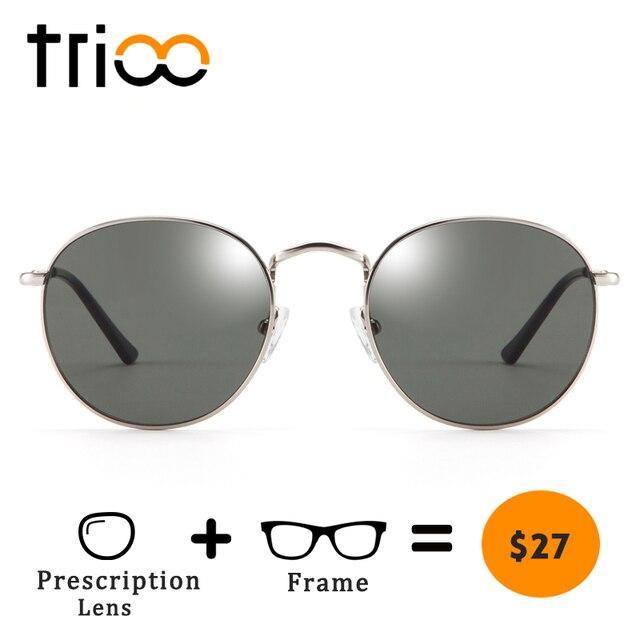 TRIOO  Nearsighted Driver Black Anti Glare Sunglasses Diopter Classic Myopia Glasses Women Retro Style Prescription Eye glasses