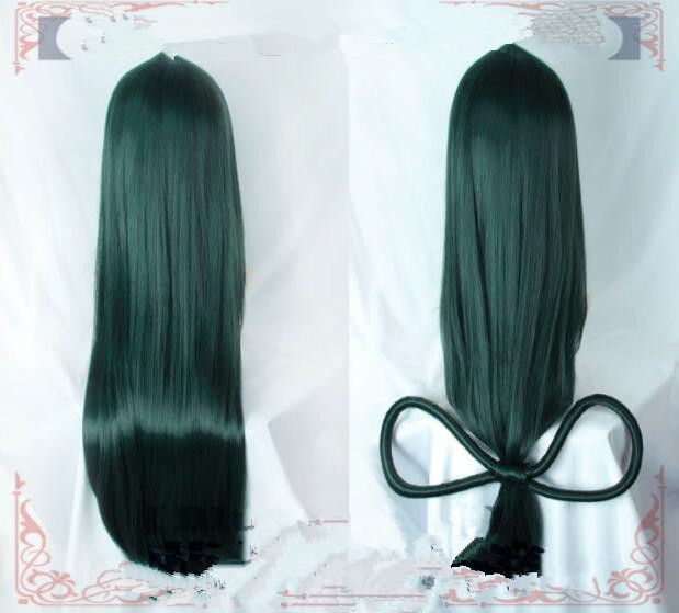 My Hero Academia Baku no Hero Asui Tsuyu Dark Green Long Straight Cosplay wig Cap A300