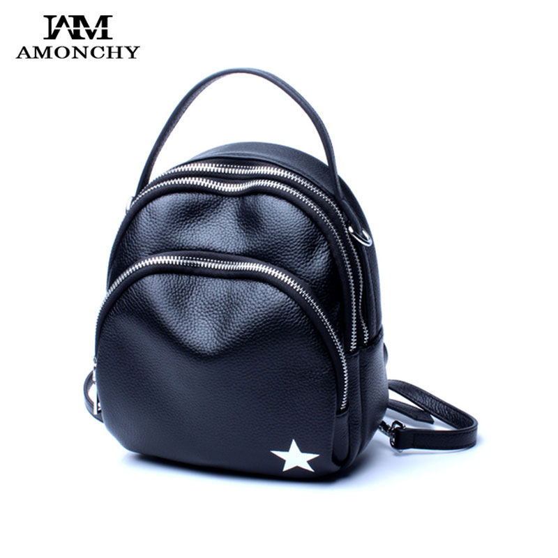 AMONCHY Women Backpacks Brand Designer Casual Female Backpack Genuine Leather Shoulder Bags Fashion Small Handle Bag Two Straps brand bag backpack female genuine leather travel bag women shoulder daypacks hgih quality casual school bags for girl backpacks