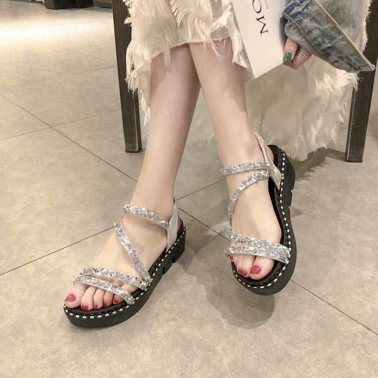 Sandals Wedges Rhinestones Roman-Shoes Fairy Summer Platform Cross Silver Women Soft