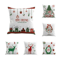 6 Pcs Set Christmas Linen Cotton Pillowcase Pillow Covers Merry Christmas Festival Present 45 45cm