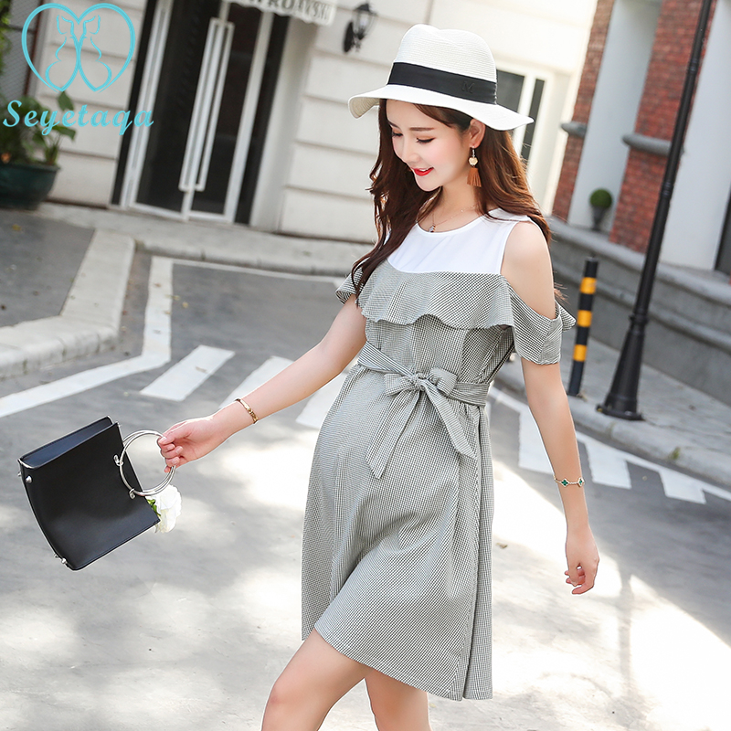 2260# Stylish Ruffle Strapless Ties Waist Maternity Dress 2018 Summer Korean Fashion Clothes for Pregnant Women Pregnancy Wear women s stylish high waist see through dress
