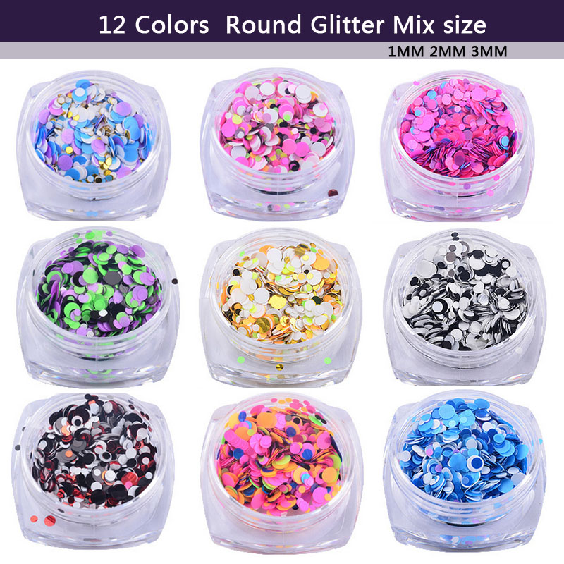 12pcs/set 1MM/2MM/3MM Mix Round Shape Nail Glitter Powder Dust 3D DIY Nail Art Decorations Nail Art UV Gel Manicure Tools blueness 10pcs lot red cherry 3d nail art charm decorations alloy glitter jewelry rhinestones for nail studs tools diy gem tn061