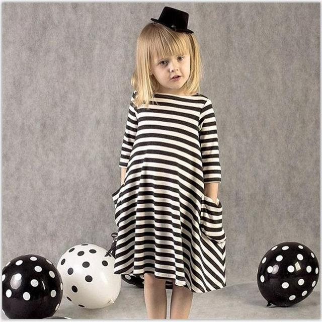 4cad58ab3 Baby Girl Dress Kids Frocks Winter Autumn Striped Dress Children ...