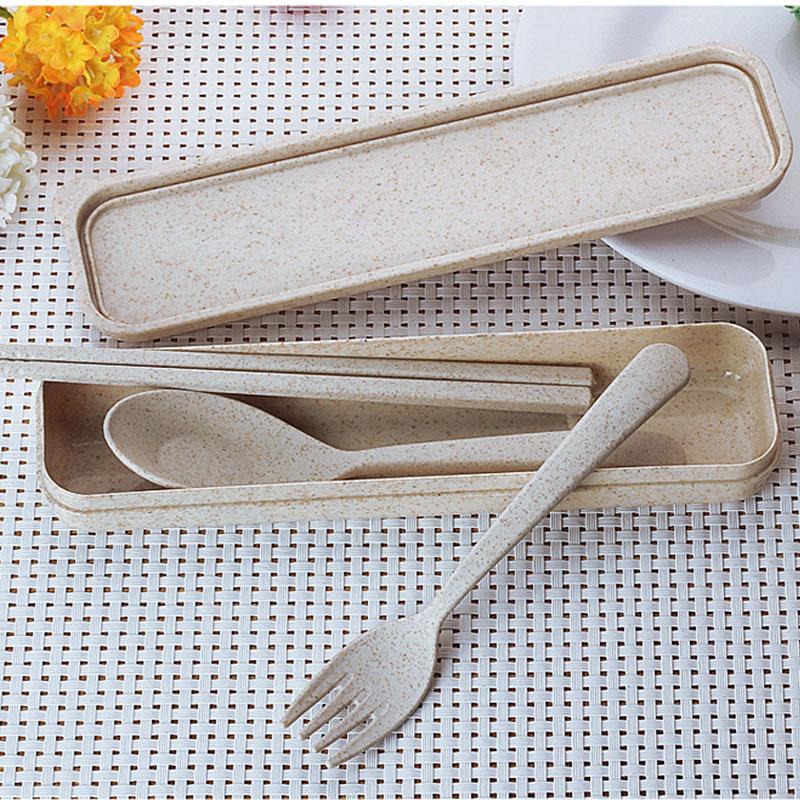 Creative Children Travel Tableware Portable Gift Box Wheat Stalk Student Chopsticks Fork Spoon Three piece in Dinnerware Sets from Home Garden