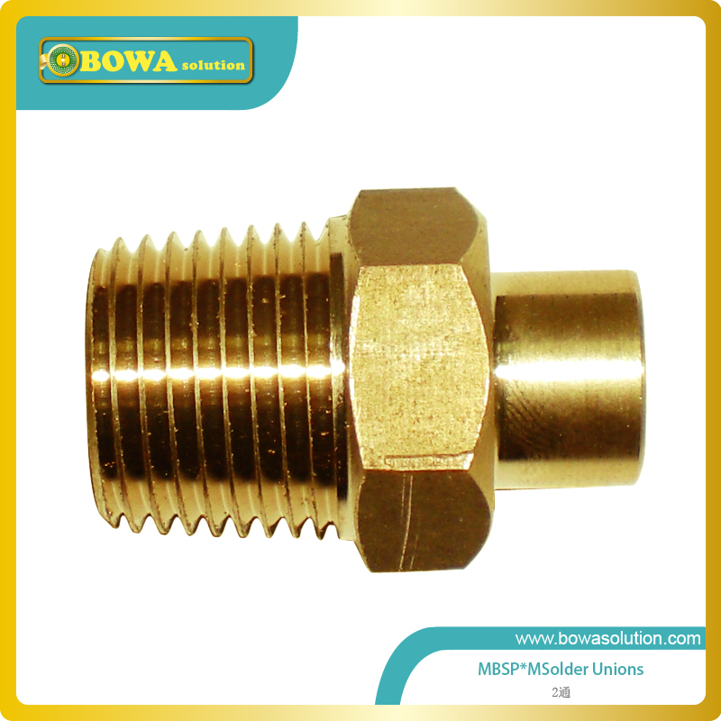 5/8 MNPT x 5/8 OD brass unions to convert connection tube