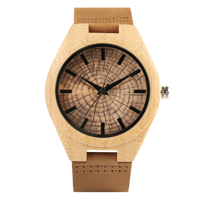 Natural Wooden Men Watch Creative Piecemeal Flower Dial Analog Quartz Soft Genuine Leather Band Analog Clock Male Hour Top Gifts woman s retro flower dial analog quartz wrist watch w pu leather band yellow brass 1 x 377