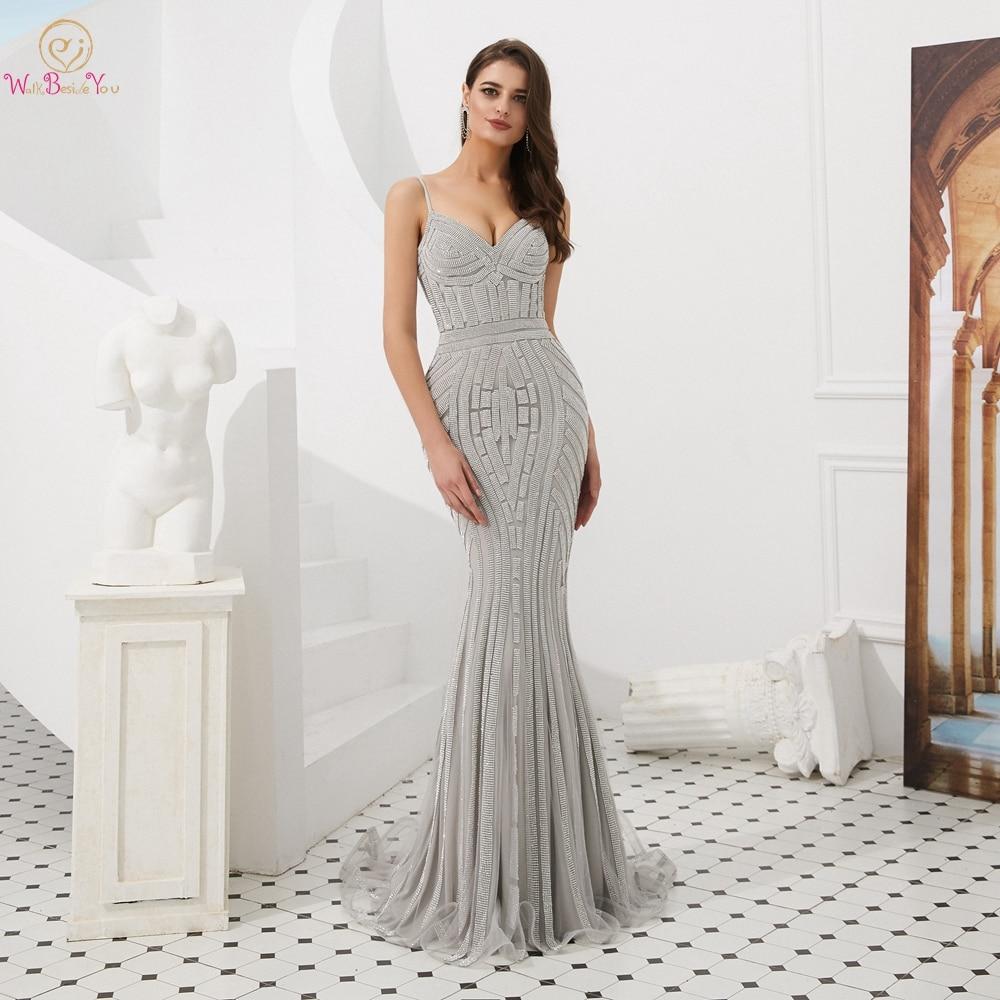 Luxury Evening Dresses Formal Dress Women Elegant 2019 Rhinestone Sparkle Prom Formal Party Gowns Spaghetti Straps Sleeveless