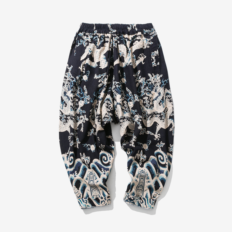 2018 spring Chinese style youth retro printing loose large size casual male national wind wide leg pants men's new Sweatpants