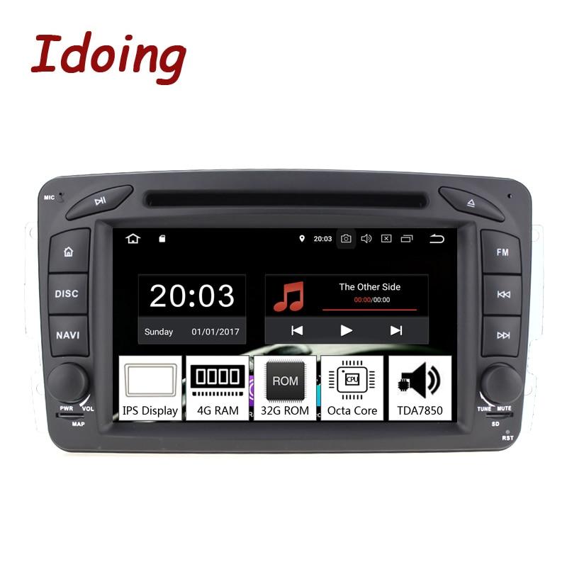 Idoing 7 2Din Andriod 8,0 автомобиль видео DVD мультимедийный плеер для Mercedes-Benz W209/203 PX5 4G + 32 г 8 Core ips Экран gps навигации