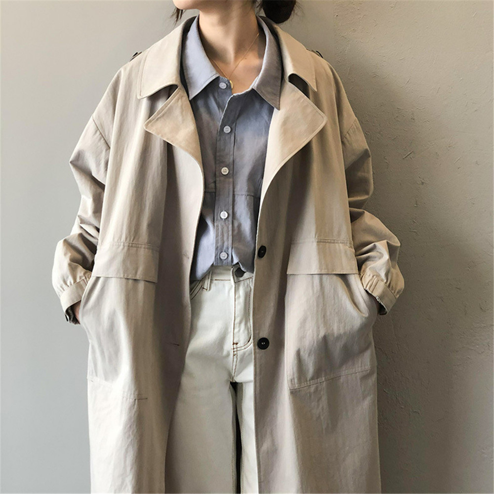 Vintage Cotton Women Coat 2019 Autumn Women's Casual Trench Coat oversize Single Breasted Washed Outwear Loose Clothing 68501 (15)