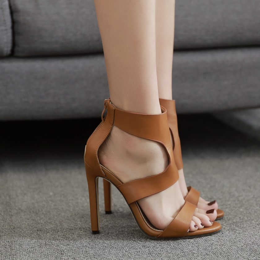 2018 Summer Women Fetish Thin 11.5cm High Heels Female Gladiator Cross Class Sandals Lady Party Sexy Roman Brown Leather  Shoes high heels