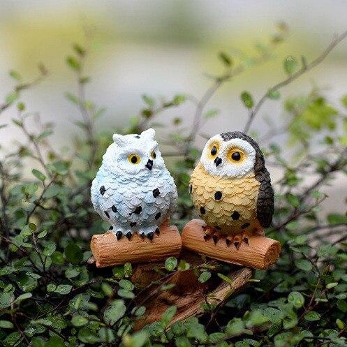 Hermoso Large Size 6cm Owl Fairy Garden Gnome Animals Moss Terrarium