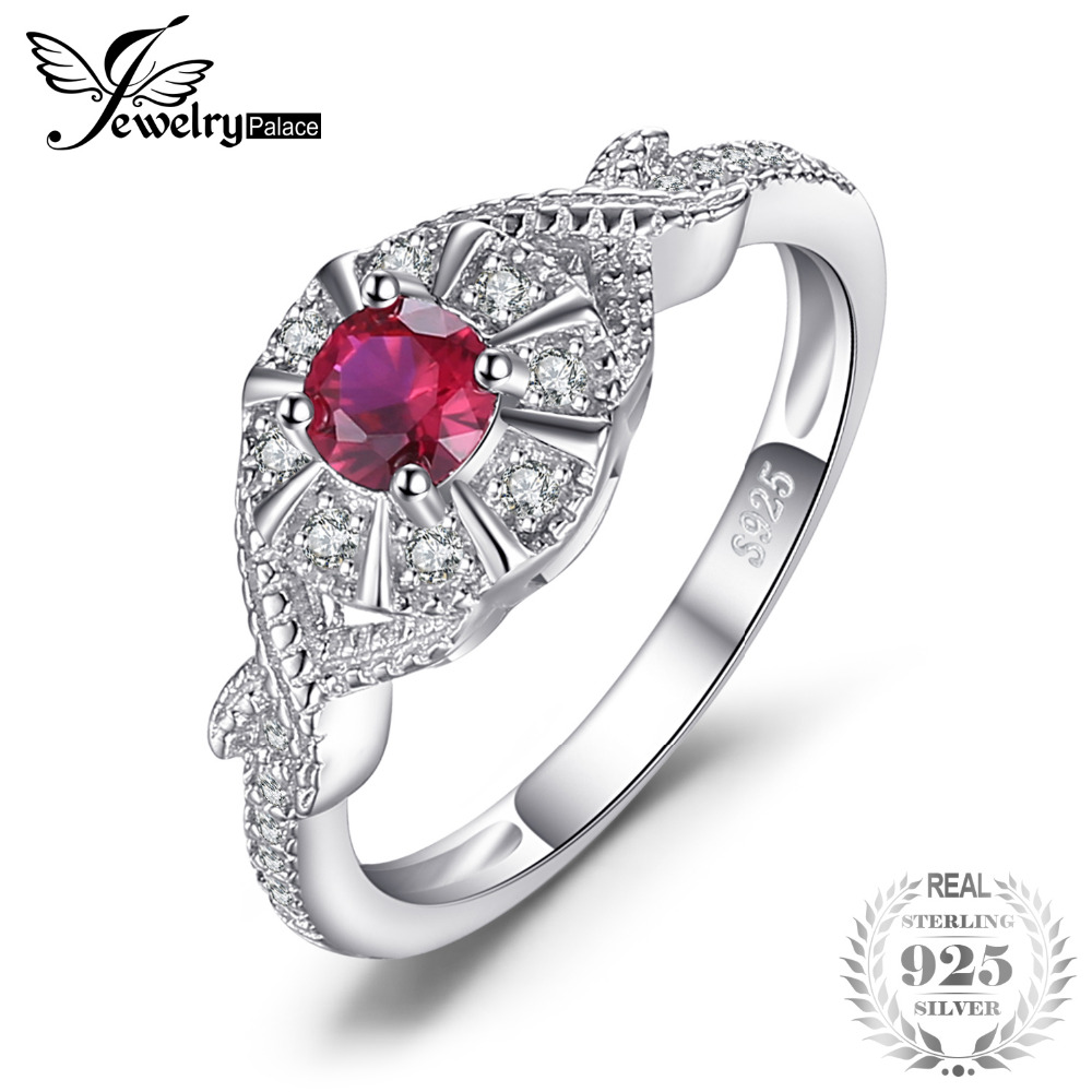 цена на JewelryPalace Vintage Round Created Ruby Statement Ring Pure 925 Sterling Silver Women Wedding Ring Brand Fine Jewelry