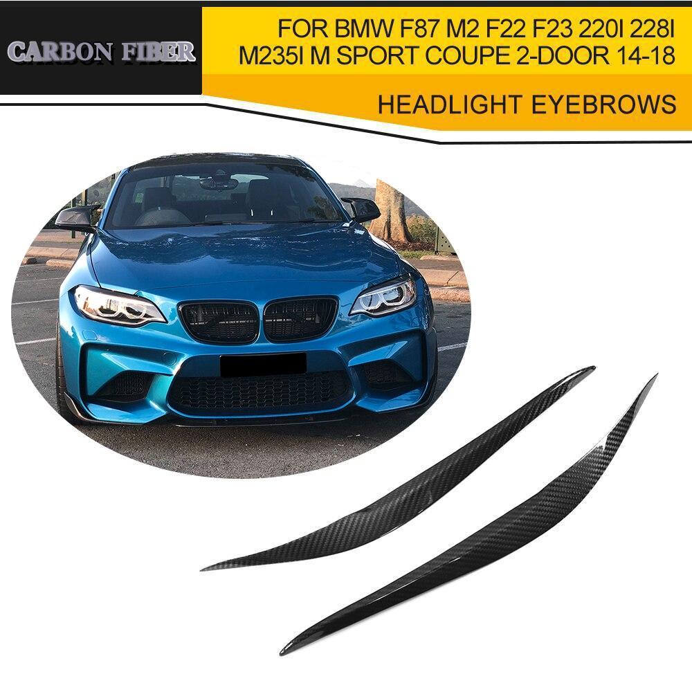 Fibre de carbone sèche phare sourcils paupières couvre pour BMW F87 M2 F22 F23 220i 228i M235i M Sport Coupe 2 portes 14-18 noir FRP
