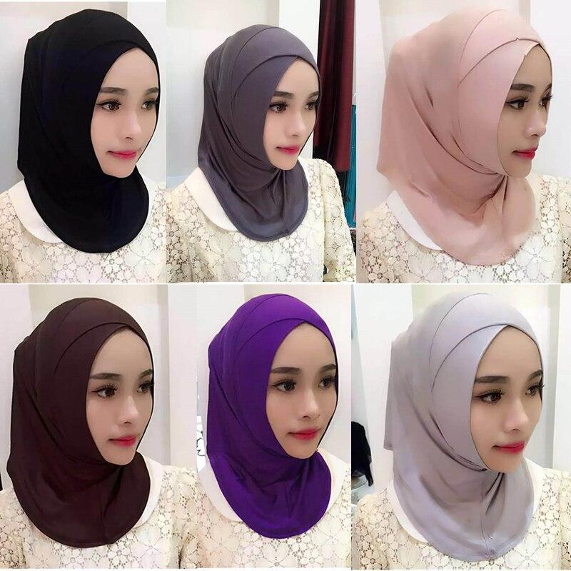 9 Colors Fashion Women Lady Cotton Crossover Muslim Inner Hijab Caps Islamic Underscarf Hats Arab Headwear High Quality Hijab