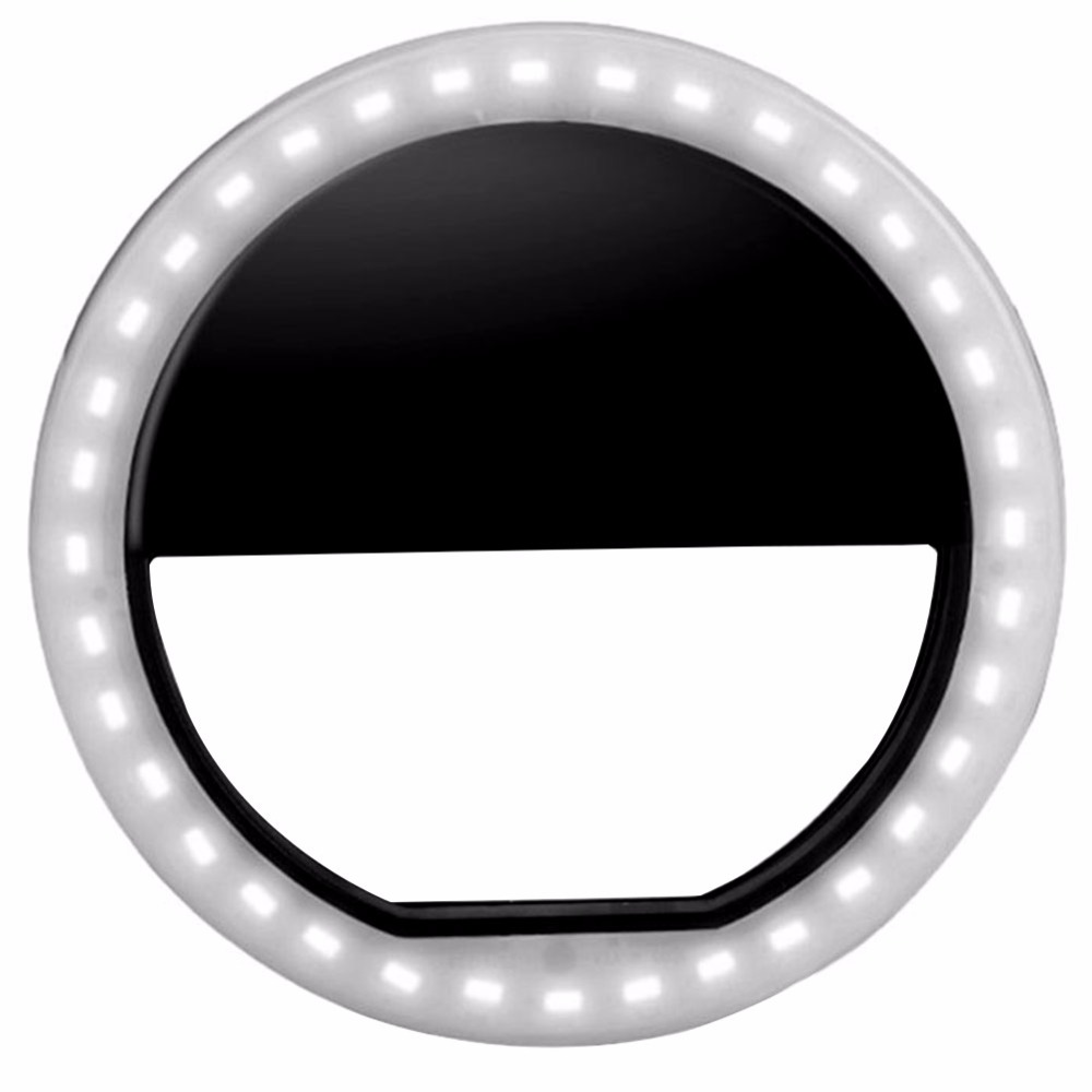 Alloet Black Portable Selfie Ring Light For Mobile Phone Led Flash Fill Selfie Light Lamp Camera For Photography Spotlight