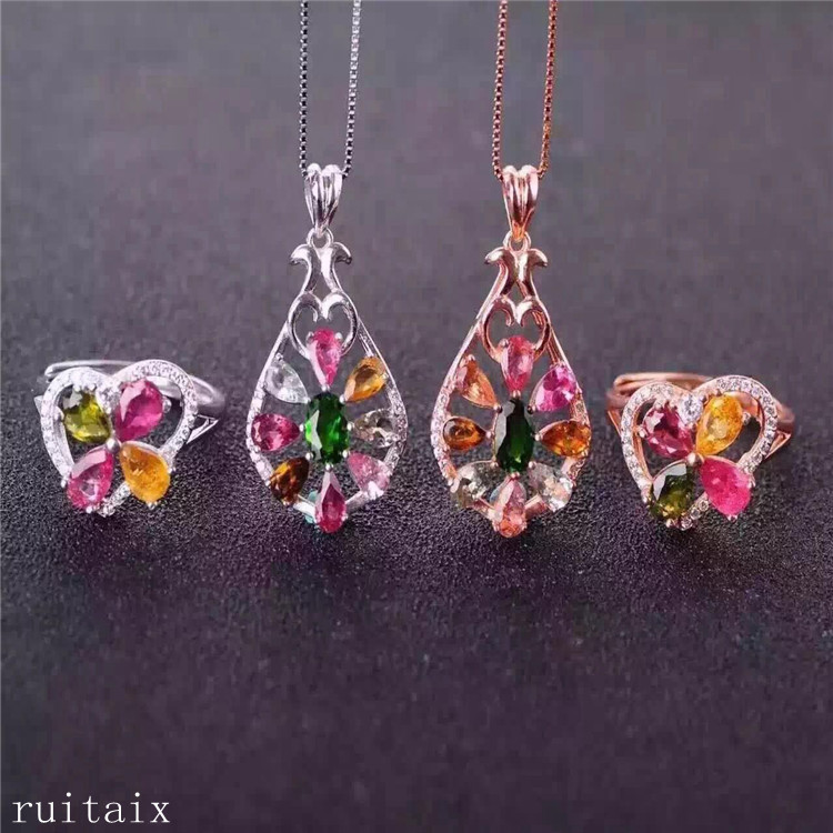 KJJEAXCMY boutique jewels S925 sterling silver inlaid with natural tourmaline drop womens set jewellery gold silver 2 pieces.KJJEAXCMY boutique jewels S925 sterling silver inlaid with natural tourmaline drop womens set jewellery gold silver 2 pieces.