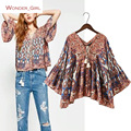 2017 New Arrival  Women's Blouses Flare Sleeve V-Neck Pattern Printing Fashion Europe And America Style Female Shirt S-L
