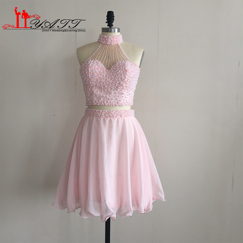 Two Piece Light Pink Short Homecoming Dresses
