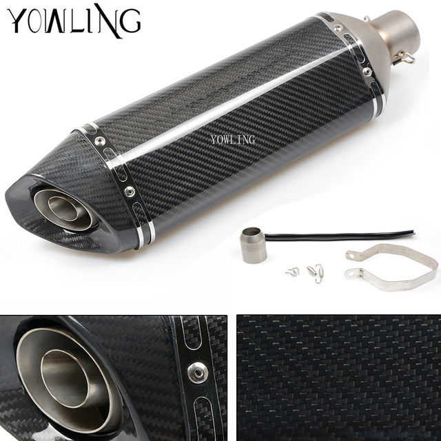 Inlet 35-51mm Modified Motorcycle Exhaust Pipe Muffler Exhaust Mufflers Real Carbon Fiber Stainless Steel Exhaust