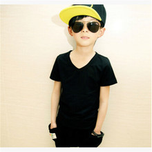 Children's clothing male female child baby summer child basic shirt 100% V-neck child cotton short-sleeve T-shirt