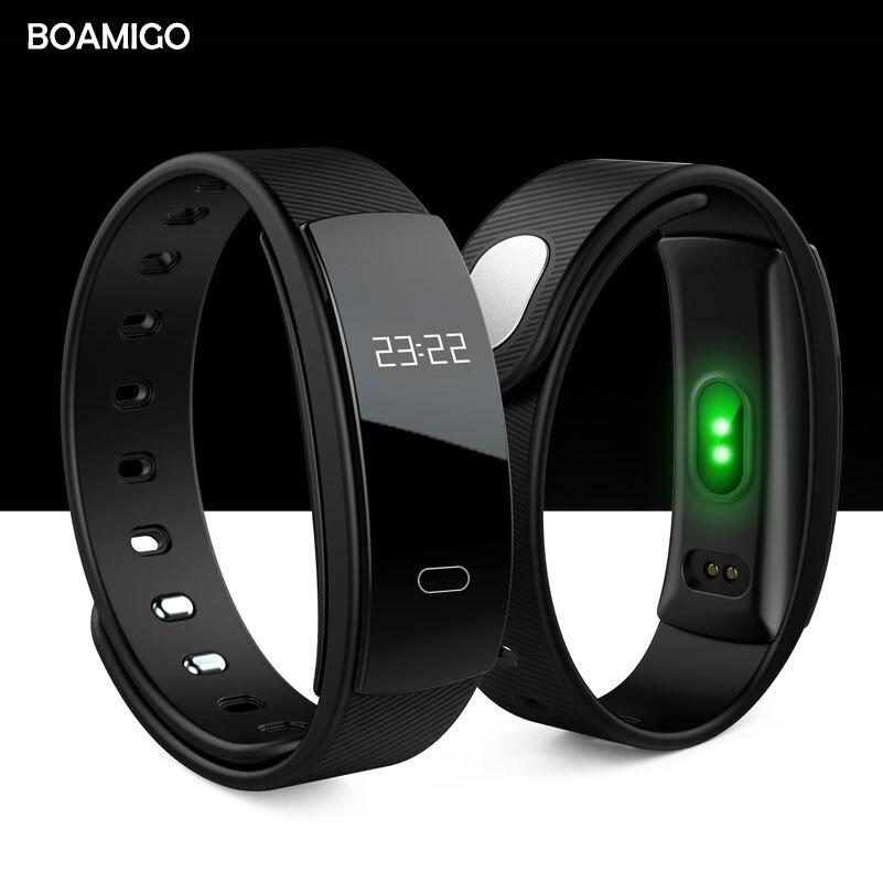 Orologi intelligenti BOAMIGO marca del wristband del braccialetto bluetooth frequenza cardiaca messaggio di promemoria Monitoraggio del Sonno per IOS Android phone