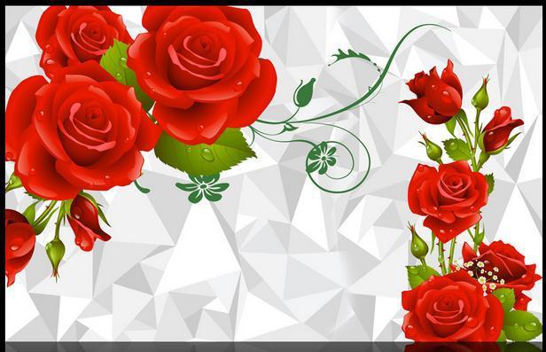 Papel De Parede Living Room Tv Backdrop Pictures Red Rose 3d