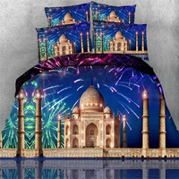 4pcs Scenic Fireworks Castle Star Castle Balloon Lighthouse 3d Bedding Set Twin Full Queen King Super