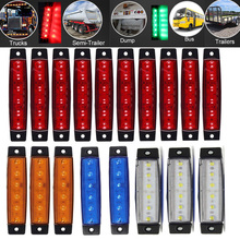 24V Car Truck Trailer Side Marker Indicator Lights Blue/Red/Green/Yellow/White Buses Clearance Turn Signal Light Lamp 6 Leds 2pcs 14smd yellow red blue green white led arrow panels car side mirror turn signal indicator light for dodge journey