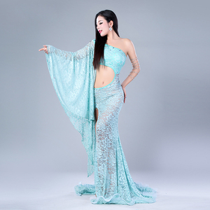 Image 2 - Modal Performance Belly Dance Lace Elegant Inclined shoulder Girl Dress Belly Dance Dresses Belly Dance Costumes Comfortable