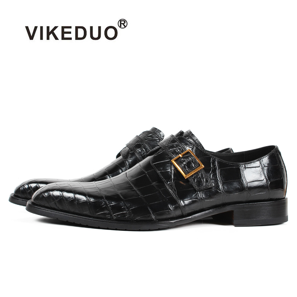 Vikeduo 2019 Для мужчин сумка ТЗ крокодилиевой кожи, обувь черного цвета в клетку Мужские модельные туфли; модная обувь ручной работы свадебное т