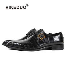 Vikeduo 2019 Mens Crocodile Leather Shoes Black Plaid Male Dress Shoe Fashion Handmade Wedding Party Business Sapatos Masculino