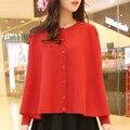 2016 Nuevo Invierno Grande Más Tamaño Poncho de Punto Cardigans Suéter Casual Mujer Prendas de punto de Señora Coat Top Túnica Manto Rojo, rosa, Negro