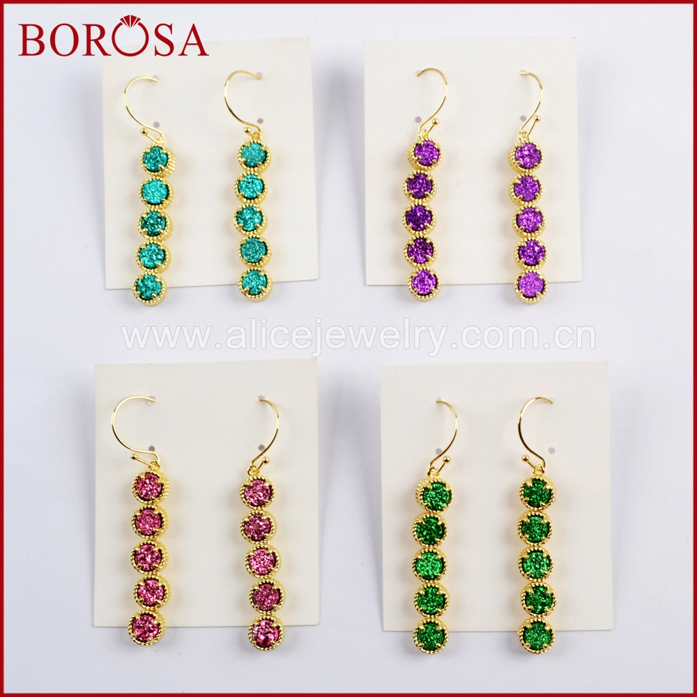 BOROSA 3Pairs Gold Color Five Round Titanium Aqua Rainbow Druzy Earrings Fahsion Drop Earring for Women Lady ZG0350