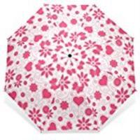 Pink Heart Shape Umbrella Custom Foldable Rain Umbrella Wind Resistant Windproof Floding Travel Umbrella