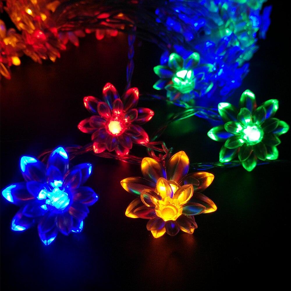 YIYANG 2m 20leds Lotus Flowers LED Fairy String Garland Light Christmas New year Wedding Holiday Party Luminaria decoration