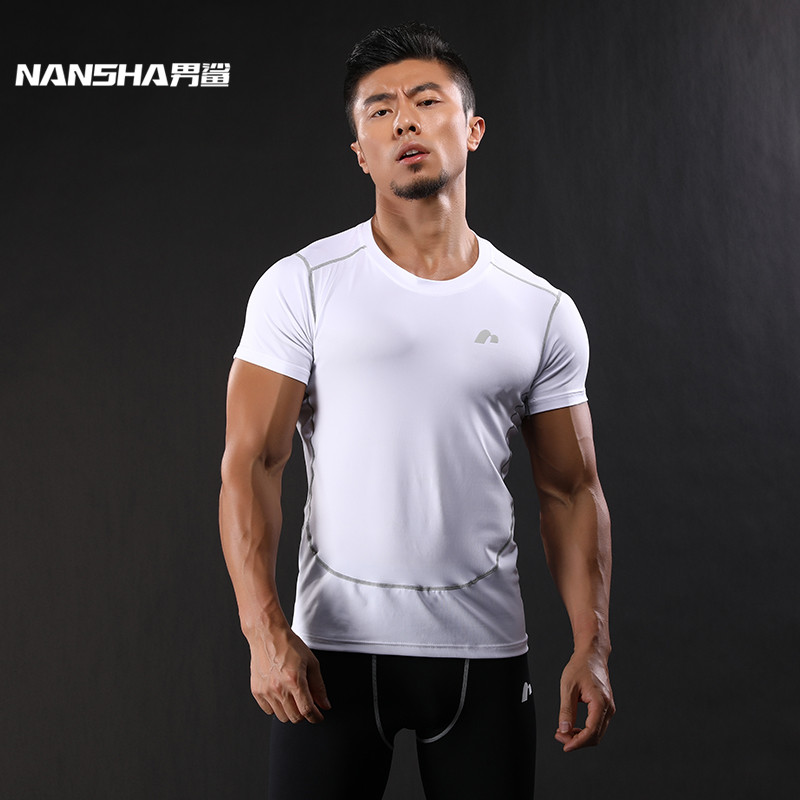 NANSHA New Compression Shirt Kortärmad T-shirt GYMS Fitness Kläder Solid Color Quick Dry Bodybuild Crossfit Toppar