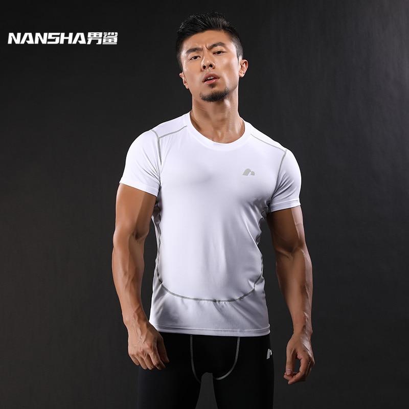 NANSHA New Compression Shirt rövid ujjú póló GYMS Fitness ruházat Tömör színű gyors száraz testépítő Crossfit felsők