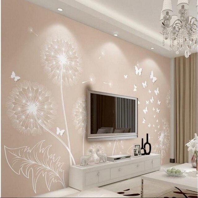 beibehang personnalis grande fresque moderne simple pissenlit 3d 3d papillon jaune tv toile de. Black Bedroom Furniture Sets. Home Design Ideas
