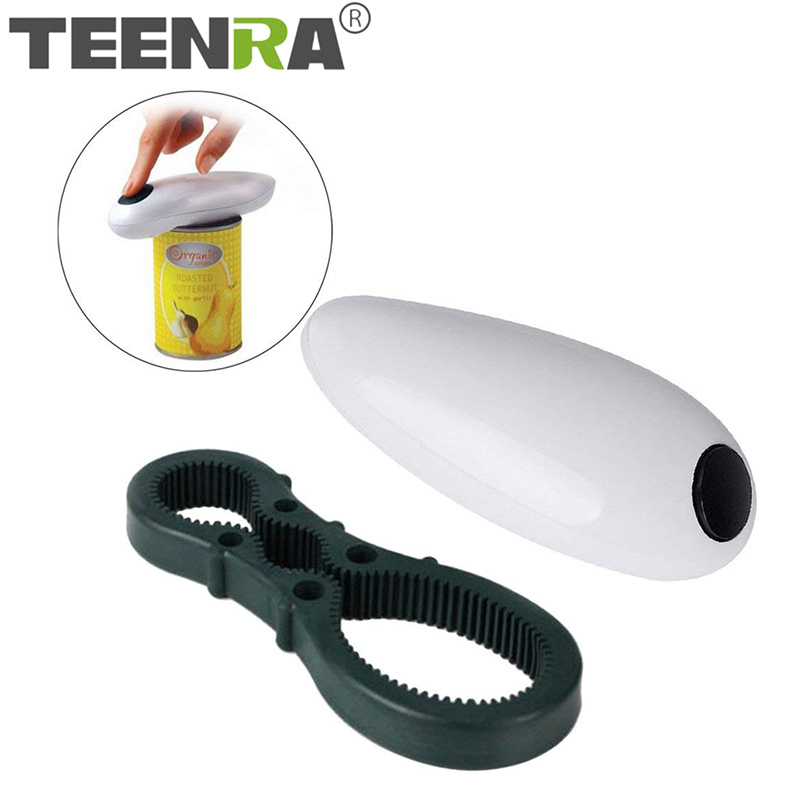 TEENRA Electric Can Opener One Touch Automatic Jar Opener Bottle Opener Electric Hands Free Kitchen Gadgets