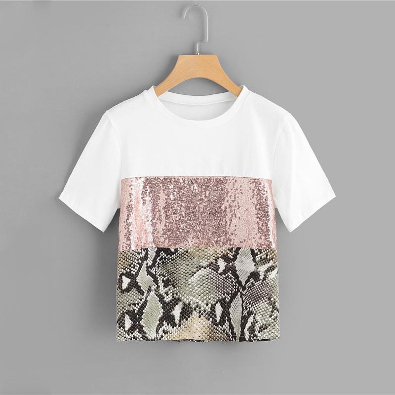 Contrast Sequin Panel Tee Posh Women Round Neck T Shirt