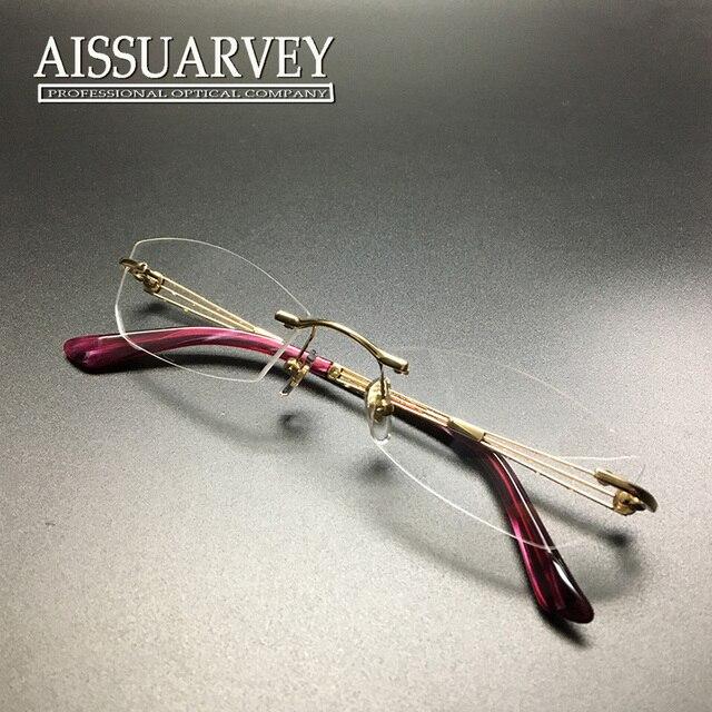 a9c95bf6d Rimless eyeglasses women glasses frame hollow fashion brand designer  rhinestone golden red light optical prescription titanium