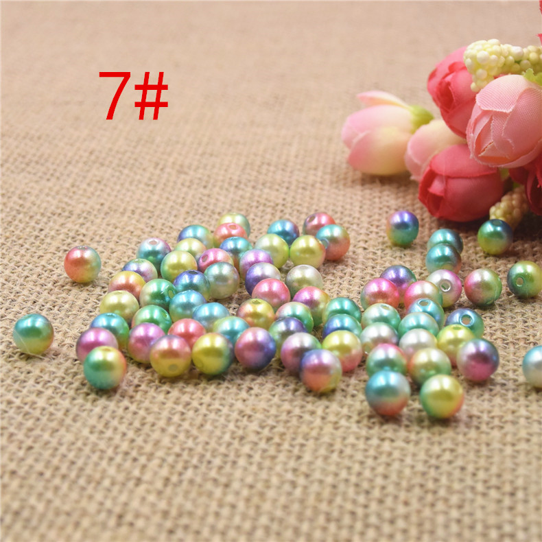 3/4/5/6/8mm Multicolor With holes Round Imitation Garment Pearl For DIY Art Necklace Fashion Jewelry Making Accessories 7#