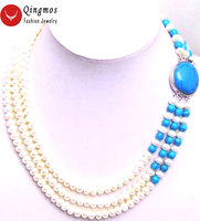 Qingmos Natural Pearl Neckalce for Women with Blue Turquoises & 6mm Flat Round 3 Strands Pearl Chokers Necklace Jewelry nec5200