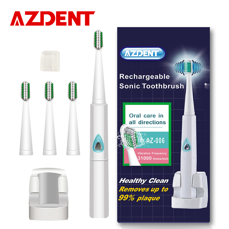 AZDENT 110v/220v Wireless Rechargeable Ultrasonic Electric Toothbrush Sonic Teeth Tooth Brush 4 Pcs Replacement Heads Kid Adult image