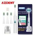 Azdent 110 v-220 v recargable sonic cepillo de dientes eléctrico ultrasónico cepillo de dientes cepillo de dientes + 4 unid de carga inalámbrica cabezas niño adulto