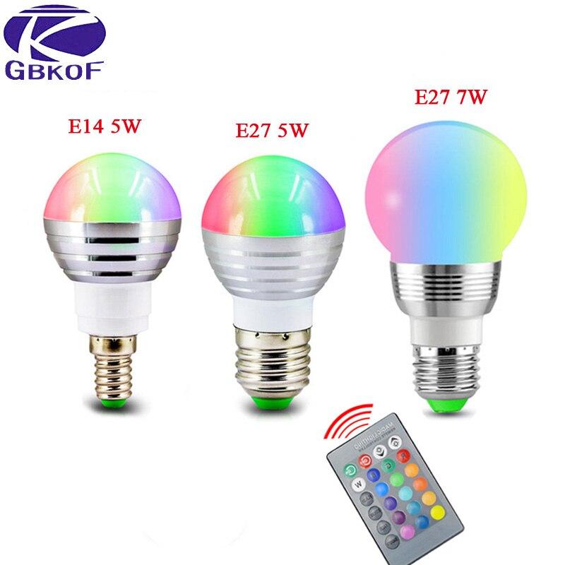 E14 E27 RGB LED Lamp 5W 7W 85-265V LED RGB Bulb Light 110V 120V 220V Led Soptlight Remote Control 16 Color Change Lampada LED keyshare dual bulb night vision led light kit for remote control drones