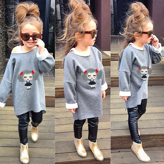 d36d5f42949e3 Baby Girls Kids Baggy Shirt Tops Legging Pants Casual Clothes Sets Outfits  2Pcs